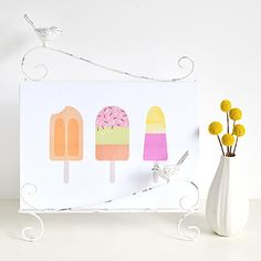 If you love popsicles, you'll love this free wall art. Just print it out and hang it up for an instant burst of color! Free Printable Art, Free Printables, Free Prints, Wall Prints, Simple Wall Art, Free Graphics, Print Pictures, Kids Decor, Nursery Art