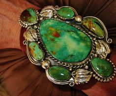 """NATIVE AMERICAN TURQUOISE LEATHER BRACELET,128g Sterling Silver CHAVEZ,4.5"""" wide #CHAVEZNAVAJO"""