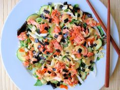 Wild Salmon Vegetable Salad with Lemon Miso Dressing. I just LOVE miso dressing!