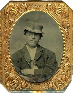 Tintype portrait of a roguish young man in a hat #1860s #1870s #1880s #1890s