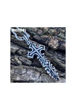 Stainless Steel Gothic Biker Skull Cross Pendant Necklace