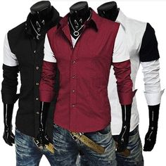 Mens Contrast Color Stitching Fit Long Sleeve Dress Shirts