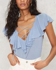 Sexy deep V neck lace up t shirt plain blue chiffon shirt for women  asymmetrical tops 4c7e074a7