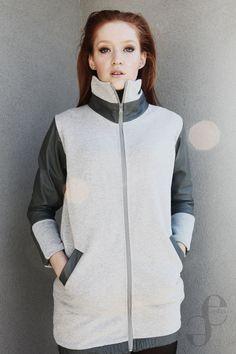 grey coat with dark leather Emilia Sikorska www.emfaso.com