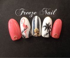 Flamingo, palm tree and pink nails! Chic Nails, Glam Nails, Pink Nails, My Nails, Gorgeous Nails, Perfect Nails, Pretty Nails, Summer Acrylic Nails, Summer Nails