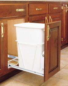 Rev-A-Shelf RV-9PB 30 Quart Pull-Out Waste Container  $40.66 I think I'd give up some under-sink storage for a better garbage system.