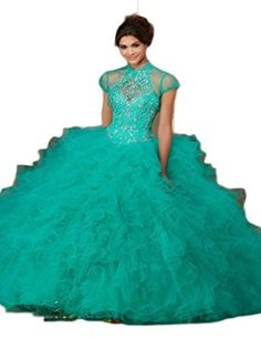 30192c4f1aa Green Organza Ball Gown QUinceanera Dresses