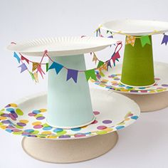 Use paper plates to make a cake stand. End of the Year celebration to display cookies.