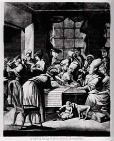 """""""A Society of Patriotic Ladies"""" a British cartoon mocking the Edenton Ladies Tea Party, a political protest against the British government organized by a group of North Carolina women in 1774"""