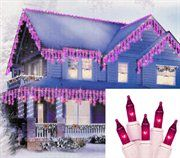 Pink Icicle Christmas Lights