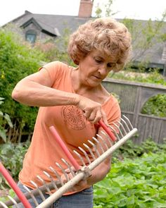 Tip for spacing seeds in the garden. Rubber tubes on the rake.
