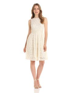 Amazon.com: Isaac Mizrahi Women's Sleeveless Lace Dress with Beaded Trim, Ivory, 14: Clothing
