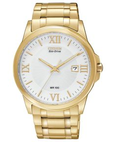 Citizen Men's Eco-Drive Gold-Tone Stainless Steel Bracelet Watch 40mm BM7262-57A