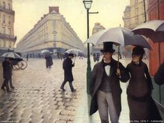 Paris Street; Rainy Day by Gustave Caillebotte, 1877 #art #painting #Impressionism #Gustave #Caillebotte #Paris #Street #Rainy #Day