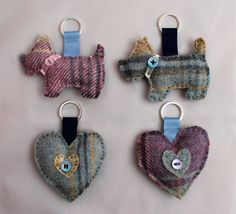 Fabric Keyring - Tweed Hand Sewn in Four Colours and Designs