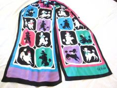 Bob Mackie Wearable Art Retro French Poodle Scarf Silk 13 x 70 | eBay