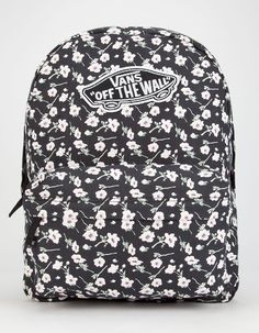 Vans Realm backpack. Allover floral print. Vans Off the Wall patch on front. Zip…