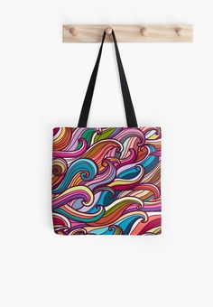 Colorful seamless abstract waves hand-drawn pattern by smotrivnebo