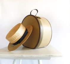 Vintage Hatbox Travel Case by:-cafechacha