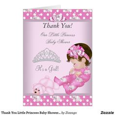 Thank You Little Princess Baby Shower Girl Bunnies Card