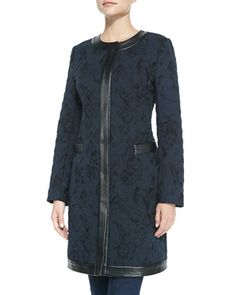Quilted Jacket with Faux-Leather Trim by Neiman Marcus at Neiman Marcus.