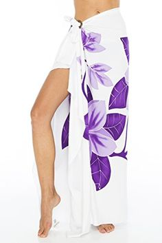 Back From Bali Frangipani Hand Painted Sarong Pareo Cover Up is stunning in this flower design.  Use as a beach blanket, skirt, dress or shawl
