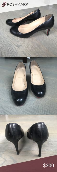 christian louboutin black pumps, come with bag christian louboutin pumps. black leather, 39.5, 70mm heals. Feel free to make your best offer. Christian Louboutin Shoes Heels
