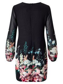 Floral Black Dress with Long Sleeves Party Dress. Perfect fall dress with round neck. Great to wear to dinner and drinks. Fabric :Fabric is very stretchy Season :Fall Pattern Type :Floral Sleeve Lengt