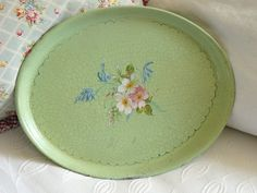 1930's green crackle tray - Vintage Lifestyle