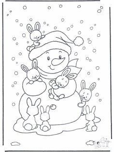 Free Printable Winter Coloring Pages - Free Printable Winter Coloring Pages, Winter Time Printable Coloring Pages Free Printable Winter Coloring Pages Winter, Bunny Coloring Pages, Christmas Coloring Pages, Printable Coloring Pages, Coloring For Kids, Coloring Pages For Kids, Coloring Books, Illustration Noel, Color Activities