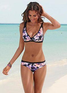 c3301a3917 Pink Printed Underwired Shaper Bikini by Sunseeker Black Bikini Tops