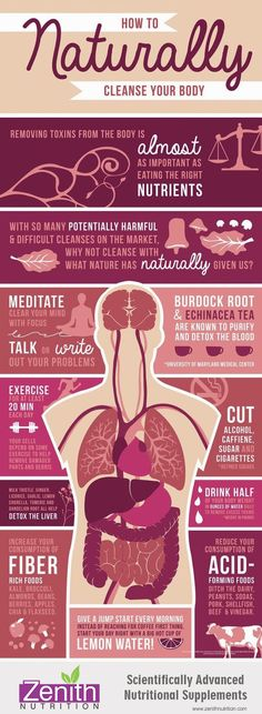 How To Naturally Cleanse Your Body. Eat the right nutrients, Cleanse with natural things, Meditate, Burdock root and chinacea tea, Exercise, Cut alcohol, caffine, cigareetes, Detox the liver, Fiber rich food, Reduce acid forming foods, Start every morning with lemon water. Best supplements from Zenith Nutrition. Health Supplements. Nutritional Supplements. Health Infographics