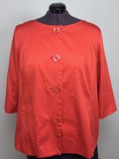 ecologie 3X Orange Cotton Large Button Swing Jacket Jackie O VTG 60s Style Plus #ecologieecologie #JackieOJacket
