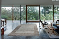 modern living room Persian Gabbeh pond