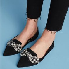 Bought From Anthropologie Store, Has Several Minor Scuffs From Store Sampling Therefore Listed As Preowned. New, Never Worn Outdoors M Color, Color Black, Black And White, Loafer Flats, Loafers, Black Ballet Flats, Edelman Shoes, Anthropologie, Slippers