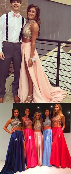 Two Pieces Real Made Prom Dress,Charming Formal Dresses,Evening Dresses,beading prom dress,prom dresses,2017 prom dress