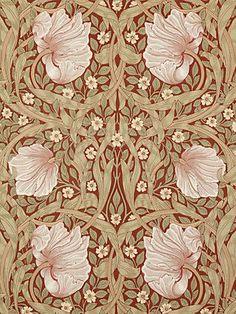 Morris & Co. Pimpernel Wallpaper, Brick / Olive, 210386 Morris & Co. Pimpernel Wallpaper at John Lewis & Partners
