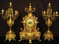 Candelabra from 19th Century Ferdinand Barbedienne Antique French Gold Plated Bronze Clock and Matching Candelabra Set !!