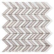 Gray and White Chevron Mix Marble Mosaic