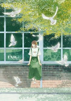 Girl sitting with dove flying illustration art Chica Anime Manga, Arte Horror, Anime Scenery, Beautiful Anime Girl, Illustration Girl, Anime Art Girl, Anime Style, Cute Wallpapers, Cute Art
