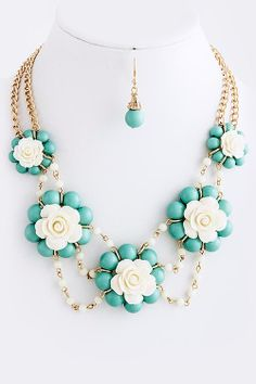 Bubble Bead Flower Necklace Set by AddiJAccessories on Etsy, $17.99