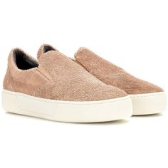 Balenciaga Suede Slip-on Sneakers (995 BAM) ❤ liked on Polyvore featuring shoes, sneakers, brown, slip-on sneakers, suede shoes, balenciaga, slip on trainers and brown suede sneakers