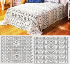 Ideas crochet edging for blankets charts for 2019 Crochet Bedspread Pattern, Crochet Blanket Edging, Crochet Quilt, Crochet Stitches Patterns, Crochet Home, Crochet Motif, Crochet Doilies, Crochet Diagram, Crochet Chart