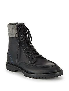 Cole Haan Judson Leather Tall Lace-Up Boots - Black-Grey - Size