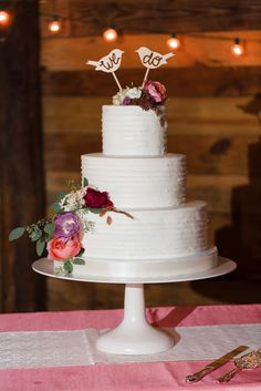 Tiered Buttercream Wedding Cake with Fall Flowers
