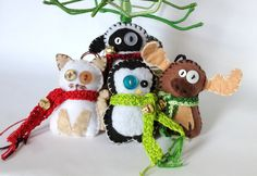 Christmas Felt Animals Ornament Set - kawaii - cat sheep penguin moose. $30.00, via Etsy.