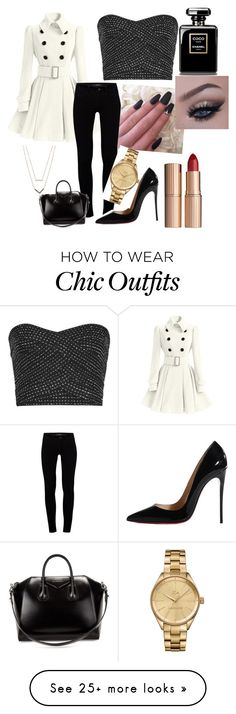 """""""everything look better with black and white"""" by mariepointdujour on Polyvore featuring J Brand, Christian Louboutin, Givenchy, Charlotte Tilbury, Lacoste and Michael Kors"""