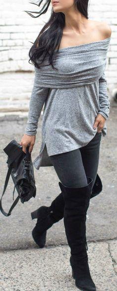 #fall #outfits Grey Off Shoulder Wrap Top // Black Skinny Jeans // Black Suede Knee High Boots // Leather Shoulder Bag