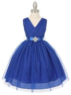 Royal Blue Tulle V-Neck with Rhinestone Brooch Flower Girl Dress (Available in Sizes 2-14 in 6 Colors)