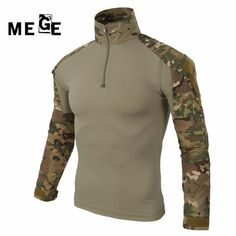 f681f673bef9f MEGE Military multicam army combat shirt uniform tactical shirt with elbow  pads camouflage hunting clothes ghillie suit top